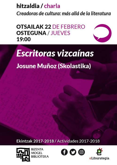 """""""Escritoras vizcaínas"""" hitzaldia"""