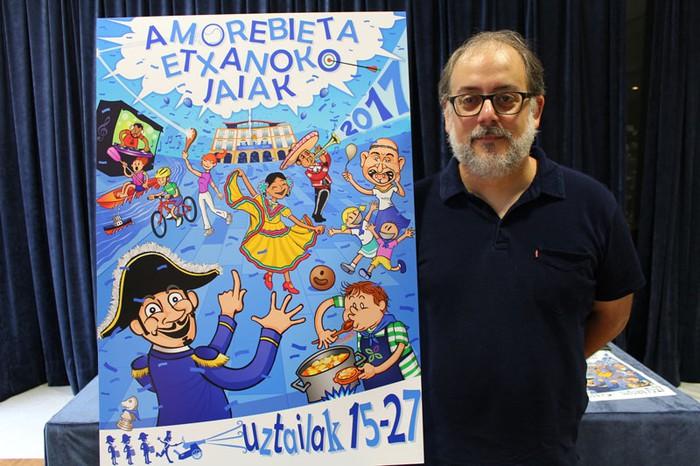 """Mikel Berrojalbiz: """"Zornotzako jaiak txikitatik bizi ditut; beraz, ohorea da Karmenak iragartzeko kartela sortzea"""""""