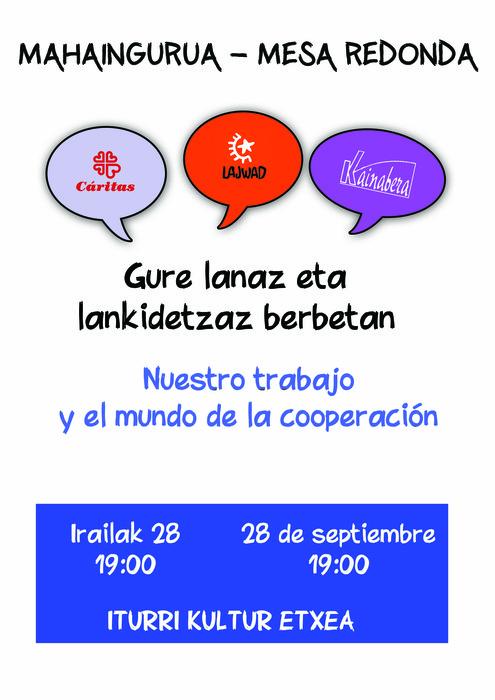 'Gure lanaz eta kooperazioaz berbetan' mahaingurua: Caritas, Lajwad eta Kainabera