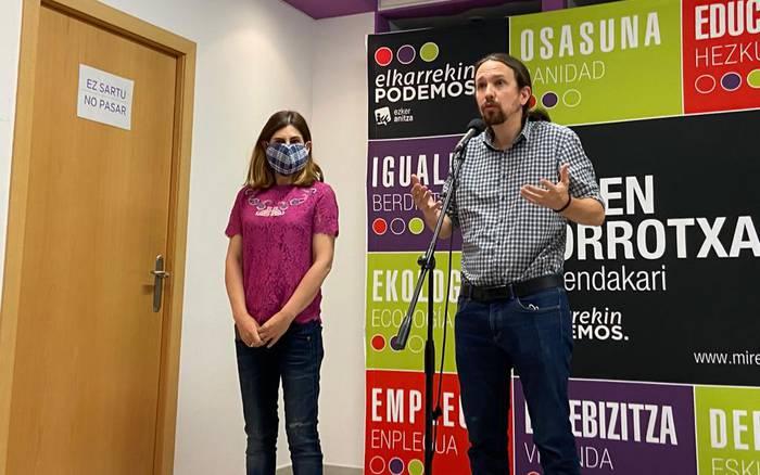 Pablo Iglesias Espainiako presidenteordea Durangon eta Zornotzan egon da