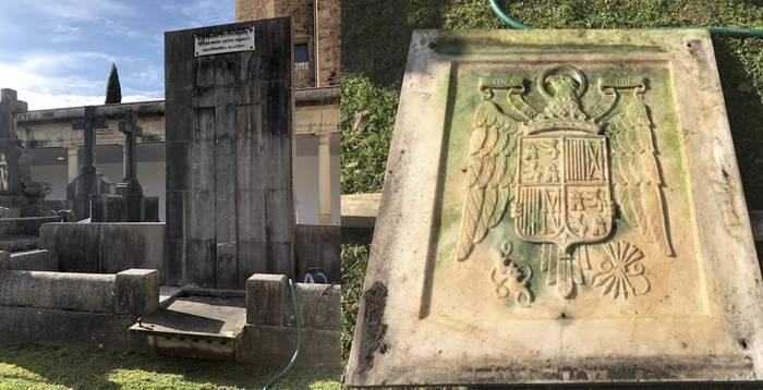 Abadiñoko hilerrian aurkitutako ikur frankista kendu egingo dutela jakitera eman du udalak