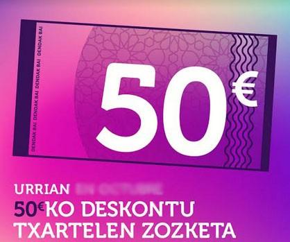 Dendak Bai elkarteak 50 euroko 50 deskontu txartel zozkatuko ditu urrian